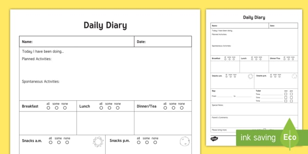 daily care sheet for preschooler record daily sheet daily