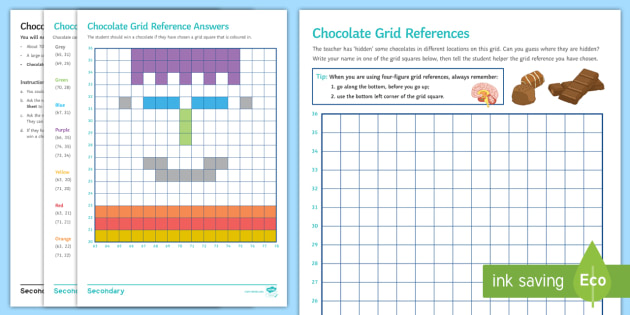 Geography Department Prospective Parents Evening Chocolate Grid References Worksheet Activity Sheet Grid