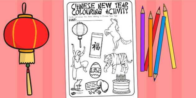 Chinese New Year Colouring Activity - australia, colour, chinese