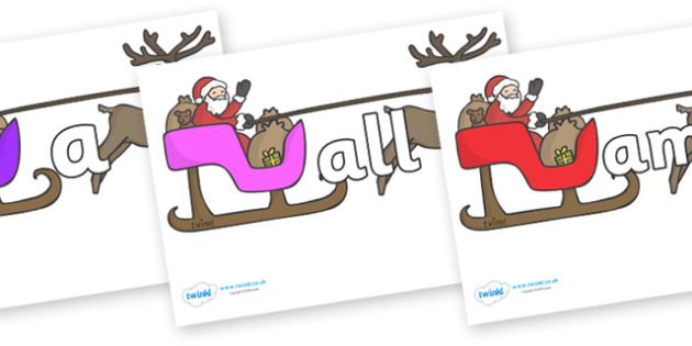 Foundation Stage 2 Keywords on Sleighs - FS2, CLL, keywords, Communication language and literacy,  Display, Key words, high frequency words, foundation stage literacy, DfES Letters and Sounds, Letters and Sounds, spelling