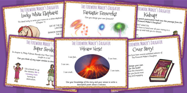 The Firework Maker's Daughter Challenge Cards - myths, stories