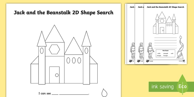 Jack And The Beanstalk 2d Shape Search Worksheet Activity