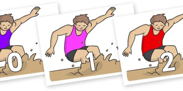 Numbers 0-31 on Long Jump - 0-31, foundation stage numeracy, Number recognition, Number flashcards, counting, number frieze, Display numbers, number posters