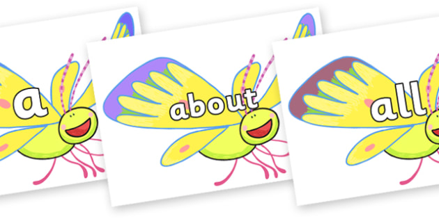 100 High Frequency Words on Yellow Butterfly to Support Teaching on The Crunching Munching Caterpillar - High frequency words, hfw, DfES Letters and Sounds, Letters and Sounds, display words
