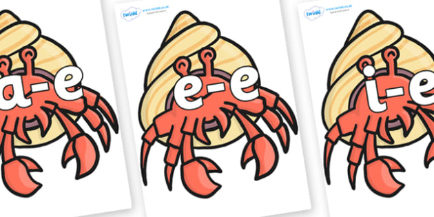 Modifying E Letters on Hermit Crabs - Modifying E, letters, modify, Phase 5, Phase five, alternative spellings for phonemes, DfES letters and Sounds