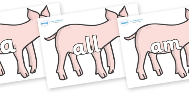 Foundation Stage 2 Keywords on Piglets - FS2, CLL, keywords, Communication language and literacy,  Display, Key words, high frequency words, foundation stage literacy, DfES Letters and Sounds, Letters and Sounds, spelling