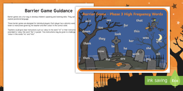 Halloween Themed Phase Three High Frequency Word Barrier Game Activity Sheet
