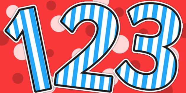 Blue Striped Themed Display Numbers - display, numbers, stripe