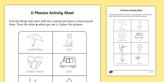 u Phonics Activity Sheet-Irish, worksheet
