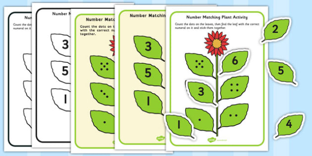 Number Matching Plant Activity - number matching, plant, activity