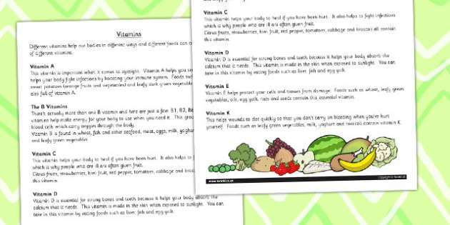 Vitamins Information Print Out - healthy eating, health, science