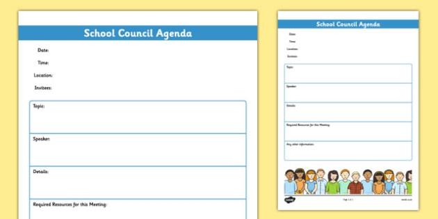 School Council Meeting Agenda Template Teacher Made