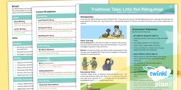 Traditional Tales: Little Red Riding Hood Y1 Overview - Traditional stories, fairytales, fairy tales, fairy stories, familiar stories