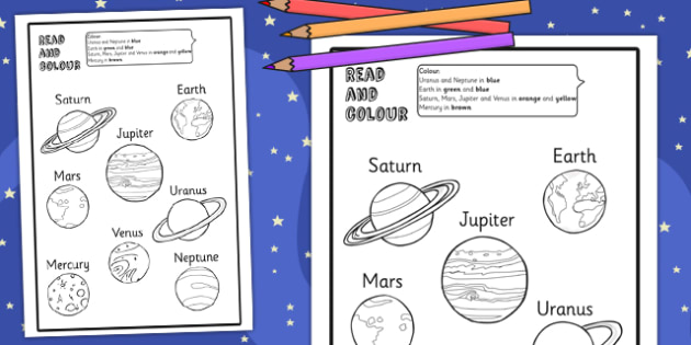 Planet Read and Colour Worksheet / Activity Sheet- space, planets, worksheet / activity sheet