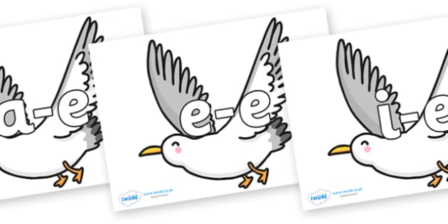 Modifying E Letters on Seagulls - Modifying E, letters, modify, Phase 5, Phase five, alternative spellings for phonemes, DfES letters and Sounds