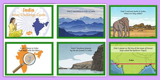 India Atlas Challenge Cards