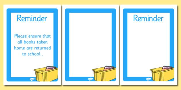 Editable Book Box Reminder Template - editable, book box, reminder, template