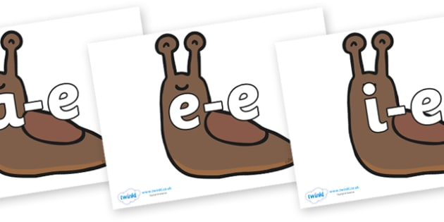 Modifying E Letters on Slugs - Modifying E, letters, modify, Phase 5, Phase five, alternative spellings for phonemes, DfES letters and Sounds