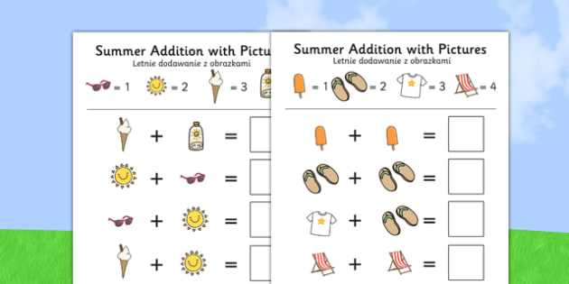 Summer Themed Addition with Pictures Activity Sheets Polish Translation - polish, summer, addition, pictures, activity, sheet, worksheet