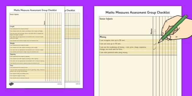 1999 Curriculum Senior Infants Maths Measures Assessment Group Checklist - roi, irish, gaeilge, assessment checklist, maths, senior infants, data