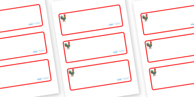 Rooster Themed Editable Drawer-Peg-Name Labels (Blank) - Themed Classroom Label Templates, Resource Labels, Name Labels, Editable Labels, Drawer Labels, Coat Peg Labels, Peg Label, KS1 Labels, Foundation Labels, Foundation Stage Labels, Teaching Labe