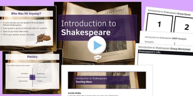Introduction to Shakespeare Lesson Pack 4: Introduction to Shakespeare Lesson Pack