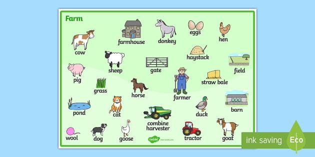 On the Farm Word Mat - Farm, word mat, writing aid, farm, pig, cow, chicken, goat, tractor, farmer, chicken, goat, sheep, hay, milk, eggs