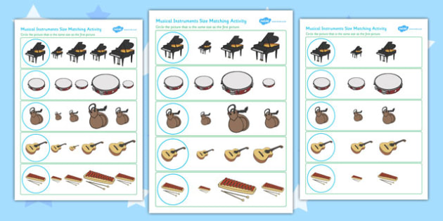 Musical Instrument Size Matching Worksheets - musical, instrument
