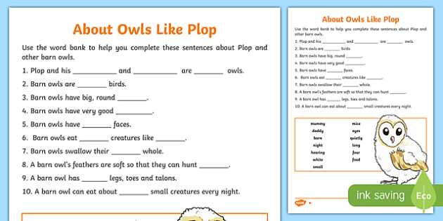 About Owls Like Plop Differentiated Worksheet / Activity Sheet Pack-Scottish, worksheet