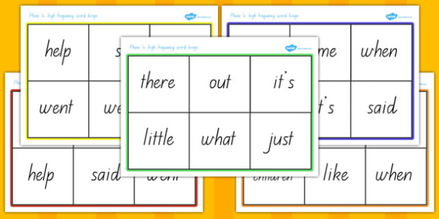 Phase 4 High Frequency Word Bingo - australia, phase 4, high frequency