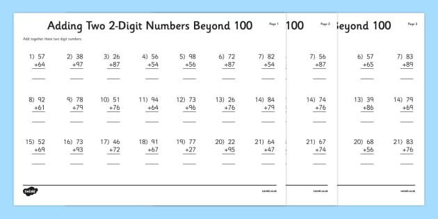 adding two 2 digit numbers beyond 100 worksheet activity sheet column. Black Bedroom Furniture Sets. Home Design Ideas