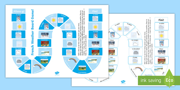 Weather Preferences Board Game French - French Games, french board games, french weather, french preferences, french sentence building,Scott