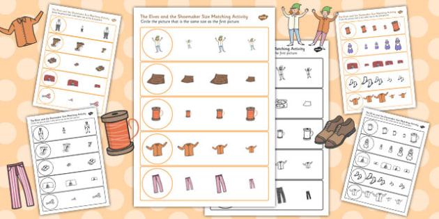 The Elves and the Shoemaker Size Matching Activity Sheets - matching