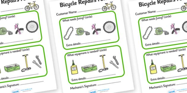 Bicycle Repair Shop Repairs Form - Bike repair, bicycle, bikes, repairs form, transport, role play, wheels, tyres, bikes, bike role play, fix, repair