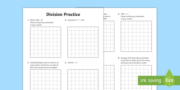 Division Practice Working in Context Worksheet / Worksheets - Maths