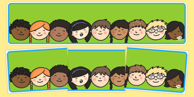 Editable Banner Childrens Faces - editable, editable banner, childrens faces, display, banner, display banner, display header, themed banner, editable header