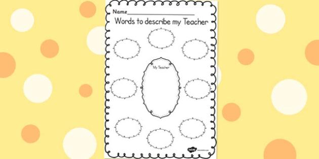 Words to Describe My Teacher Template - words, describe, teacher, template