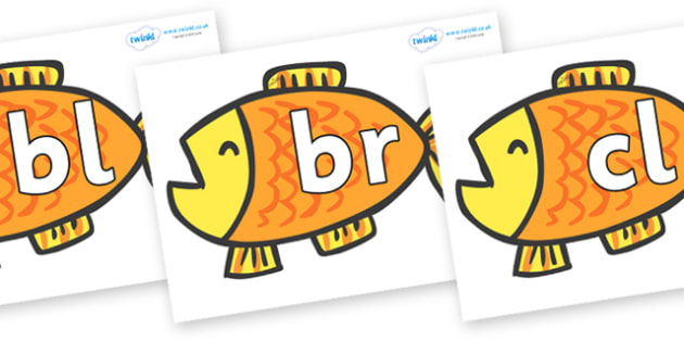 Initial Letter Blends on Goldfish to Support Teaching on Brown Bear, Brown Bear - Initial Letters, initial letter, letter blend, letter blends, consonant, consonants, digraph, trigraph, literacy, alphabet, letters, foundation stage literacy