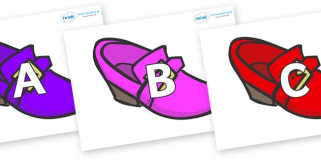 A-Z Alphabet on Shoes - A-Z, A4, display, Alphabet frieze, Display letters, Letter posters, A-Z letters, Alphabet flashcards
