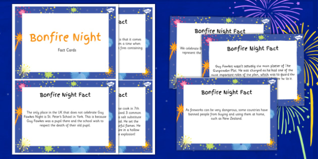 Amazing Bonfire Night and Gunpowder Plot Display Fact Cards