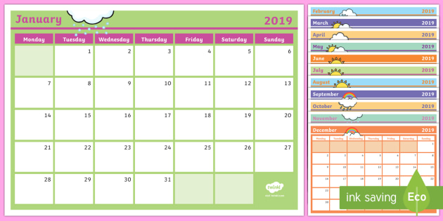 picture regarding Monthly Planning Calendar referred to as 2019 Regular Calendar Building Template - - Month-to-month Calendar
