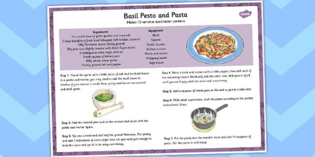 Basil Pesto and Pasta Recipe - recipe, basil, pesto, pasta, food