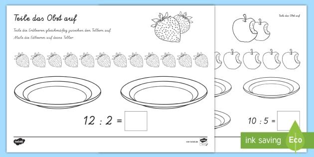 new teile das obst auf arbeitsblatt mathe rechnen teilen division. Black Bedroom Furniture Sets. Home Design Ideas
