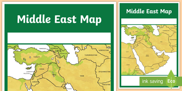 middle east map a4 display poster uae adec moe gcc gulf