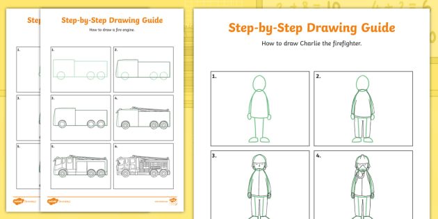 New Charlie The Firefighter Step By Step Drawing Instruction