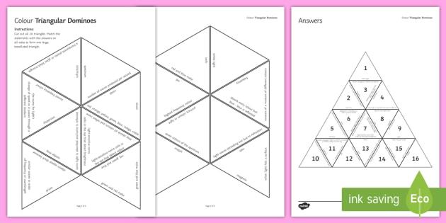 Colour Tarsia Triangular Dominoes - Tarsia, Dominoes, Colour, Spectrum, Eye, Reflection, Refraction. Light, Frequency, plenary activity
