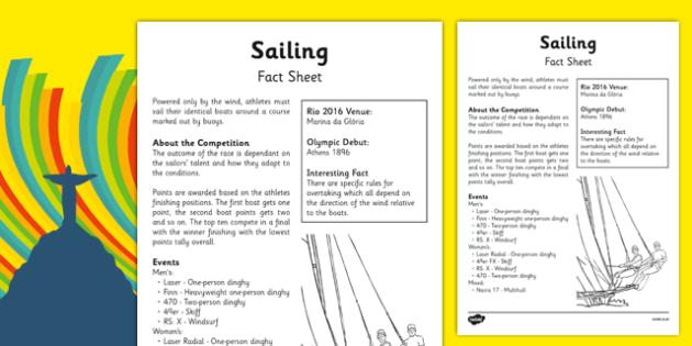 Rio 2016 Olympics Sailing Fact Sheet - rio 2016, rio olympics, 2016 olympics, sailing, fact sheet