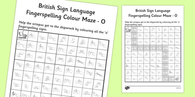 British Sign Language Left Handed Fingerspelling Colour Maze O