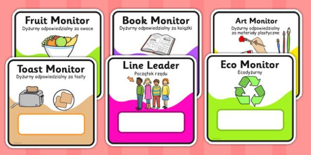 Monitor and Job cards Polish Translation - responsibility, information, roles, choice, classroom organisation, rota, schedule, ks1, ks2