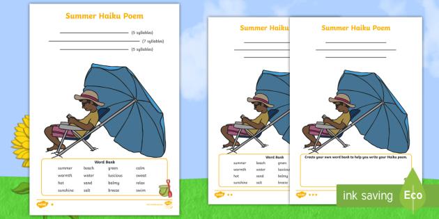 summer haiku poem differentiated worksheets poem poetry haiku syllables. Black Bedroom Furniture Sets. Home Design Ideas